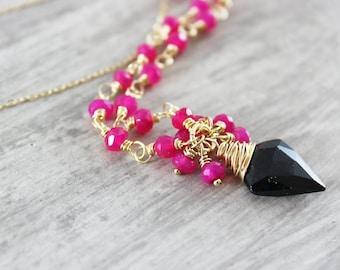 Hot Pink Black Necklace, Black Spinel Necklace, Hot Pink Necklace, Pink Gold Necklace, Wire Wrap Necklace, Chalcedony Gemstone Necklace