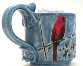 Ceramic Mug Cardinal Bird Handmade Handpainted On Sky Blue 11 Ounces MG001 Ready to Ship