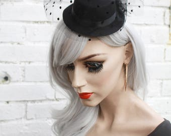 Black Mini Top Hat With Veil Vintage 50s Style