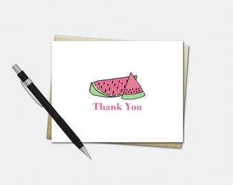 Watermelon Thank You Card - Watermelon Party Thank You Card - Set of 10 - Watermelon Thank You Cards