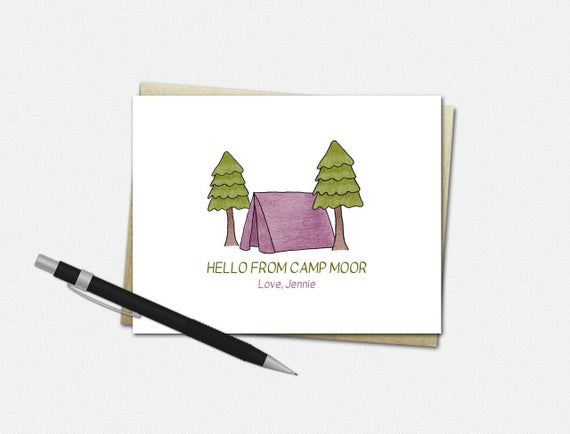 Personalized Camp Note Cards for Girls