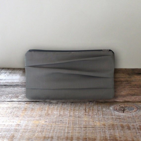 Pewter Gray Bridesmaid Wristlet- Simple Pleated Gray Purse
