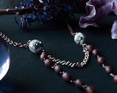 Death Dealer Wooden Bead Skull Necklace / Memento Mori / Day of the Dead / Rosary / Gothic Skull Necklace