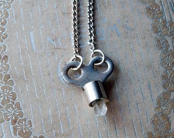 The Keeper of Light Quartz Key Necklace / Healing Stone / Crystal Necklace / Key Necklace for Men / Mens Key Necklace