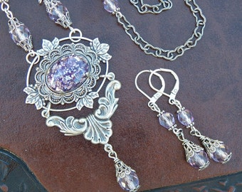 Lavender- Beaded Antiqued Silver and Glass Glitter Necklace and Earrings (N-042)