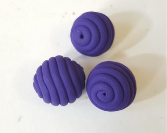 Purple Round Polymer Clay Coil Beads/ Set Of Three 16mm Violet Handmade Beads/ Jewelry Supplies/ Sculpey Clay Beads