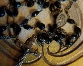 SALE Vintage Black Beaded Seed BeadsRosary 30 inches long