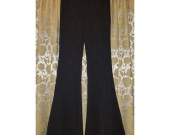 Ladies Black Bell Bottom Pants, Witchy Hippie Gypsy, Size Small