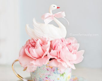 Swan Tea Cup Pink Carnations Photography - Floral Pastel Shabby Romantic Home Decor Wall Art Photography Print