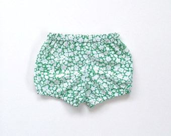 green floral cotton bloomers / shorts / diaper cover
