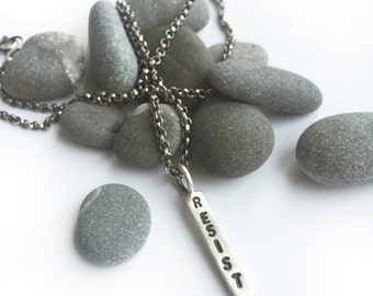 RESIST Sterling Silver Necklace Hand Stamped 18 Inch Oxidized Rolo Chain