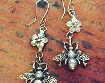 Bee & Blossom Earrings in Sterling Silver