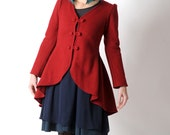 Red wool jacket, Red swallowtail jacket, Red womens steampunk jacket, Red thick and fitted jacket, Womens clothing, MALAM, Your size