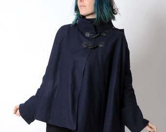 Dark blue womens Cape, Navy blue wool hooded cape coat, pointy hood and flared sleeves, Dark blue hooded cape, Womens clothing, Womens coats
