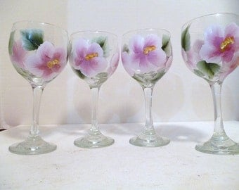 Pink Hibiscus Flower Wine Glasses Set of 4 Tropical Goblets Hand Painted