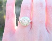 HOLD, Art Deco - Retro Diamond Engagement Ring, Super Fiery Old European Cut Diamond, approx .58 ctw, Flower Blossom Design, 14K White Gold
