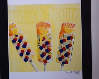 Orange Push Up Ice Cream Limited Edition Print from Original Painting Collage