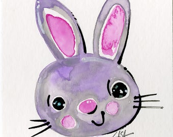 Purple, Gray Bunny Painting, rabbit, flowers, watercolor art, Rabbit Watercolor Painting Easter Minimalist Abstract art Kathy Morton Stanion