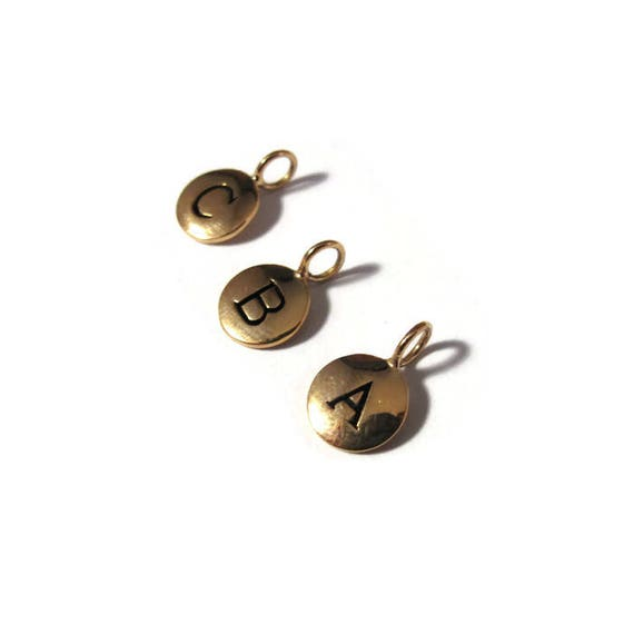 Round Initial Charms, Gold Bronze Letter Charm, Shiny Bronze Alphabet Pendants for Jewelry Making (vna4)