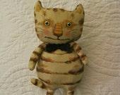 funny fat cat  art doll , sandy mastroni,  , stripes, chesire cat, smile whimsical wall art ,shelf art,