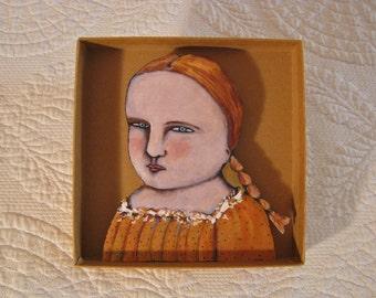 girl portrait art, Shadowbox art, Diorama , sandy mastroni, shadow box , Small art, Wall art collection,
