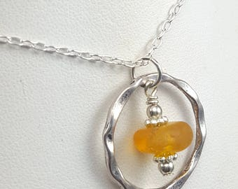 Sea Glass Necklace Sea Glass Jewelry Yellow Sea Glass English Sea Glass Beach Glass Jewelry N-531