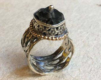 OOAK Organic ring, sterling Silver gold Band, wide silver band, rutilated quartz ring, oxidized ring, one of a kind - Desert skies R2395