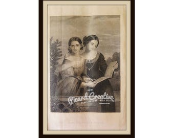 """Victorian Godey's Ladies Book Plate/Print Original Print 1870 9 1/4"""" x 5 1/2"""" Book Page 2 women with book- The Contributors"""