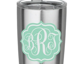 Mint Fancy Scroll Frame Decal Monogram Vinyl Decal for Yeti Cups, Car, iPads, Computer or Whatever other Surface you can Find!!