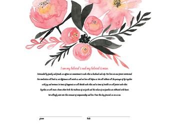 Printable Ketubah Marriage Certificate Pink Watercolor Flowers
