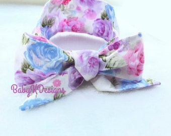 Baby Headwrap. Easter Baby Head Wrap.Pink Purple Blue Pastel Cotton Headwrap. Newborn Headband. Baby Girl Bow Headband. Baby Photoprop