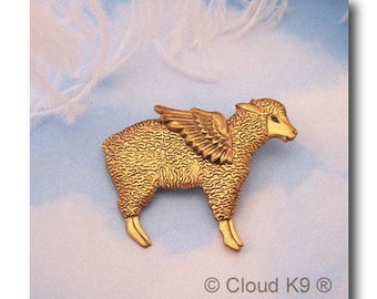 SHEEP ANGEL PIN Brooch for Farmgirl & Cowgirls. Winged Lamb Jewelry. Pet Loss Memorial Gift by Cloud K9 .Ewe Farm Animal Barnyard Animals 4H