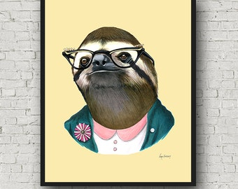 Oversized Sloth Lady art print - Ryan Berkley Illustration - 16x20 or 20x28 - Modern Decor - Modern Nursery - Modern Kids - Sloth Art