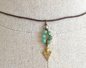Tiny arrow choker necklace/green choker necklace,short necklace/charm necklace/ festival necklace. Tiedupmemories