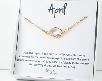April Birthstone Gold Necklace, Crystal Link Gold Necklace, Crystal Necklace, Birthstone Jewelry, April Birthday Gift, Bridesmaid Jewelry