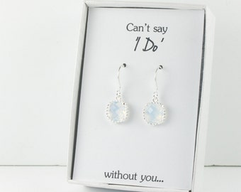 White Opal Silver Earrings, White Opal Square Silver Earrings, Opal Silver Earrings, Bridesmaid Earrings, Bridesmaid Gift, Wedding Jewelry