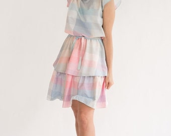 ON SALE Vintage Pastel Tiered Ruffled Dress (Size Small/Medium)