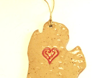 I Love Michigan Ornament,,Michigan Lower Peninsula, Heart Michigan