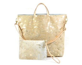 Nicole - Handmade Acid Wash Gold Hair On Hide Leather Tote Bag With Detachable Clutch SS17