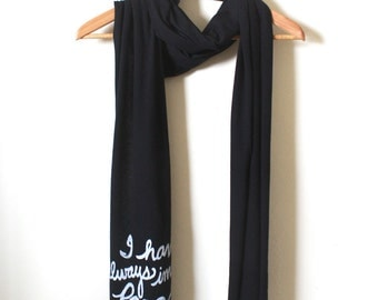 "Book Scarf- Literary Gift- Jorge Luis Borges ""I have always imagined Paradise to be a kind of Library"". Made To Order"