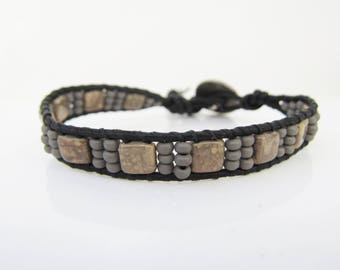 "Handmade Black Leather Cord Wrap Beaded Wrap Bracelet with Gray Beads - 6"" to 7"""
