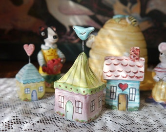 Miniature Ceramic House, Fairy Garden or Terrarium Decor, Violet Purple with Lime Green Striped Roof and Tiny Bluebird