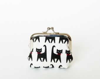 Coin purse, black and white cat fabric, cotton purse