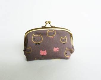 Coin purse, grey and metallic gold cat head fabric, cotton pouch