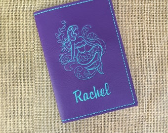 Mermaid Passport Cover for Women - Purple Faux Leather Passport Holder - Mermaid Motif Passport Cover with Name - Travel Gift for Her