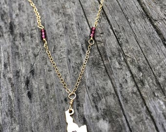 Gold Filled Garnet Wire Wrapped Idaho Necklace