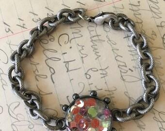 Handmade Silvertone Bracelet Swarovski Crystals