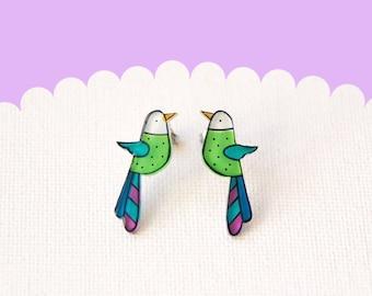 Bird studs earrings, birds jewelry, illustrated earring studs