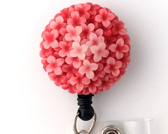 ID Badge Reel Coral Flower on Retractable Badge Holder 330