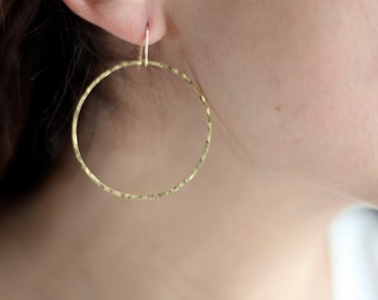 Minimalist Large Hammered Brass Hoop Earrings - Brass or Gold Filled Wire